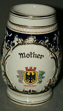 VINTAGE MUG BEER STEIN GERMANY MAKERS MARK LID HOLE & GERMAN COAT OF ARMS MOTHER