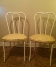 Vtg Pair 2 French Bistro Cafe Dining Chairs White Metal Mid Century by DAYSTROM