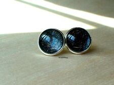 Glittering Cosmos Black Cabochon Stud Earrings/Great for Party