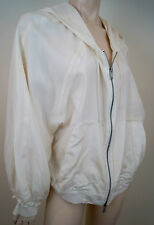 DKNY DONNA KARAN Winter White 100% Silk Hooded Casual Hoodie Jacket Sz:L
