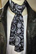 SUPERNOVA Designer Black Tonal Paisley Silk Mod Scarf Indie Scooter Exclusive