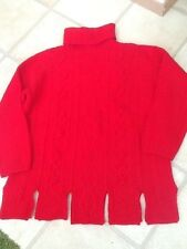 United Colors of Benetton red cable Shetland polo neck jumper, size M, new
