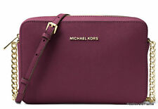 "MICHAEL KORS JET SET TRAVEL LARGE SAFFIANO LEATHER CROSSBODY ""PLUM"" ~ NWT!"
