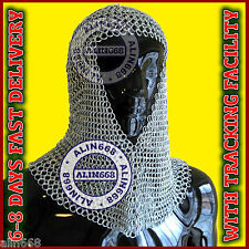Aluminium Chain Mail Hood V-Neck ( chainmail coif ) re-enactment armour costume