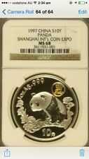 1997 china shanghai expo panda ngc ms68 silver coin
