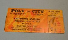 1953 Poly City Baltimore High School Football Game Ticket Stub Thanksgiving
