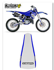 2002-2016 Yamaha YZ 125 250 SEAT COVER BLUE SIDES W/ WHITE TOP STANDARD GRIPPER