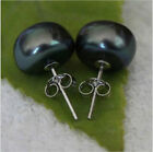 Cultured Freshwater Pearl Earrings Black 925 Sterling Silver Stud / Studs