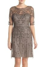 ADRIANNA PAPELL BEADED COCKTAIL LEAD COLOR DRESS sz 10