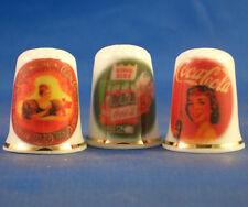 FINE PORCELAIN CHINA THIMBLES - SET OF  THREE RARE COCA COLA RETRO ADVERTISING