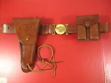 WWII US Army General Officer's Leather Belt Holster & Magazine Pouch Set - Repo