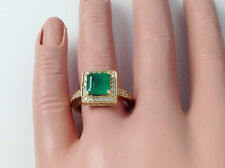 2.43Ct Genuine Natural Emerald And Diamond Ring In Solid 14K Yellow Gold