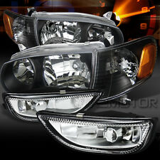 01-02 Toyota Corolla Black Headlights+Corner Signal Lamps+Clear Fog Lights