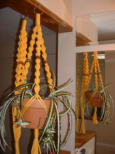 LOT 2 Macrame Plant Hangers SUNSHINE YELLOW  WALNUT BEADS Made in USA
