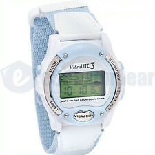 VibraLITE 3 Vibrating Alarm Watch VL300V White/Blue, Water Resistant, #05