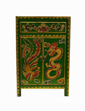 Green Chinese Wooden Side End Table Chest w/Painted Dragon & Phoenix Feb17-10