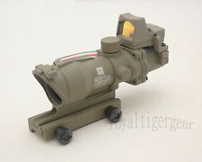 ACOG 4x32 Rifle Scope Red Illuminated Optic Fibre w Red Dot Sight - Dark Earth