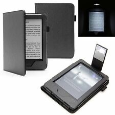 BLACK LEATHER CASE COVER FOR AMAZON KINDLE 8 Gen. (2016) & SLIM READING LIGHT