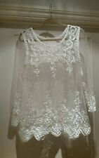 WHITE VINTAGE in pizzo velato stile hippy/boho Top vittoriano con nastro SMALL-MEDIUM