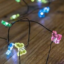 20 Butterfly String Lights LED Black Wire Miniature Garden Fairy Craft  MOON-122