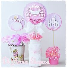 3 x PRINCESS BIRTHDAY PARTY TABLE DECORATIONS CENTERPIECES STICKS PINK WHITE