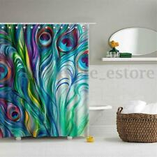 Peacock Feather Waterproof Polyester Fabric Shower Curtain Bathroom Home Decor