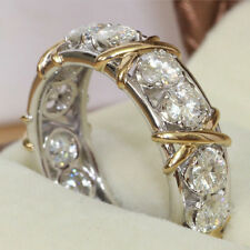 Sz 10 Handmade White Round CZ Overlay Gold Cross Big Eternal Ring Silver Band