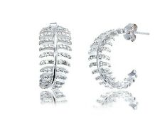 PAVE 14K WHITE GOLD VERMILE Feather 5A CZ Half Hoop Earrings 925/SS-Flawless