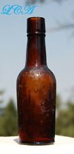 Miniature ANTIQUE sample WHISKEY BOTTLE amber cylinder 1/10 pint  NOT 1/5 gallon