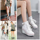 Women's Korean Wedge Heel High Top Canvas Sneakers Lace Up Shoes Ankle Boots S5