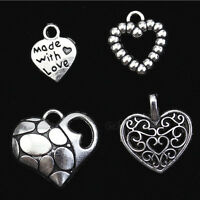 50/150/300 Silver Plated MADE WITH LOVE Heart Charms Pendant Necklace Beads DIY