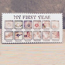 Baby My First Year 12 Picture Stand Frame Photo Moments Keepsake White Art Gift