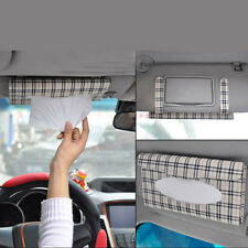 R6H1 Car Sun Visor Tissue Case Cover Plaid Paper Towel Napkin Holder Box