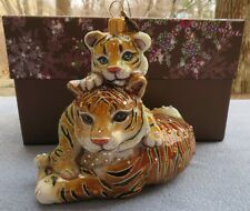 Jay Strongwater Mother and Baby Tiger Ornament Swarovski Elements New Box