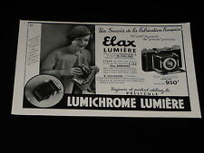 PUBLICITE  -   ELAX LUMIERE- 1934 - PRESSE - ADVERTISING - APPAREIL PHOTO