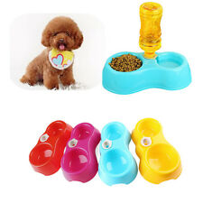 Pet Dog Cat Automatic Food Dish Bowl Water Dispenser Blue Red Food Feeder SY