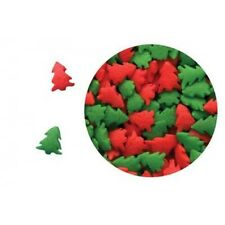Edible Confetti Sprinkles Cookie Cake Cupcake Christmas RED AND GREEN TREES 8 oz