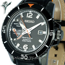 New SEIKO SPORTURA KINETIC DIRECT DRIVE BLACK With LEATHER BUCKLE STRAP SRG021P1