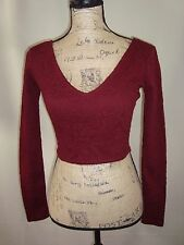 Forever 21 Crop Top Long Sleeve Burgundy Size S