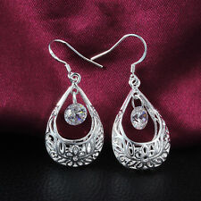Chic New Women Silver Plated Ear Hook Chandelier Crystal Dangle Earring