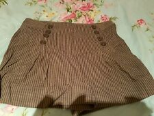 Size 12 High Waisted Primark Grey & Blue Stripe Shorts Holiday Beach
