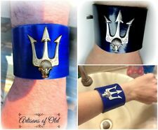 Poseidon's Trident Brass on Blue Leather Wristband 2.25 inch Wide Cuff 8 inches