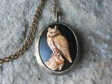 GREAT HORNED OWL CAMEO BRONZE LOCKET (hand painted brown ) - HALLOWEEN