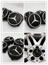 MERCEDES C63 A45 AMG STYLE BLACK WHEEL CENTRE CAPS 75MM FITS A B C E SLK CLASS