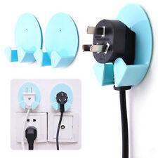 2X Power Plug Socket Jack Hook Rack Holder Hanger Home Wall Decor Organizer New