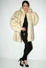 2711 Amazing Real Blue Fox Fur Coat Fox Jacket Swinger Beautiful Look Size L