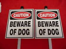 2 BEWARE OF DOG HOME SECURITY WARNING YARD SIGNS with STAKE/POST
