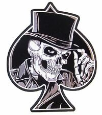 SKULL TOP HAT SPADE BIKER IRON ON PATCH