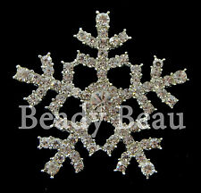X-LARGE SNOWFLAKE CRYSTAL RHINESTONE SHANK BACK BUTTON 42mm BROOCH BOUQUETS ETC