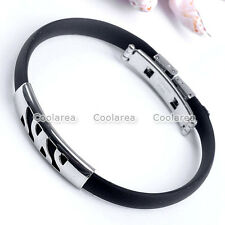 "1x Silvery Mens Stainless Steel Rubber Cuff Wristband Bracelet 8""L Punk Jewelry"
